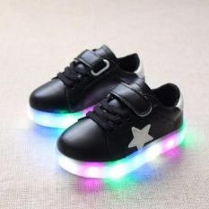 Beli Freeshop Fashion Kids Unisex Star Pattern Led Sneakers Light Up Flashing Shoes Black Di Indonesia