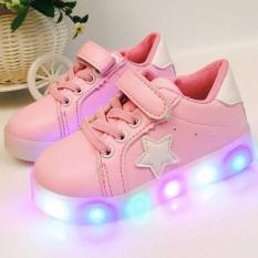 Harga Freeshop Fashion Kids Unisex Star Pattern Led Sneakers Light Up Flashing Shoes Pink Freeshop Original