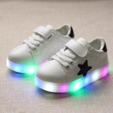Freeshop Fashion Kids Unisex Star Pattern LED Sneakers Light Up Flashing Shoes - White