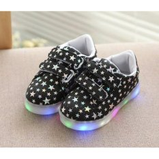 Freeshop Fashion Kids Unisex Star Polkadot Pattern LED Sneakers Light Up Flashing Shoes - Black