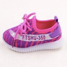 Freeshop Fashion Kids Unisex Yezzy Fitshu Pattern Led Sneakers Light Up Flashing Shoes Purple Freeshop Diskon