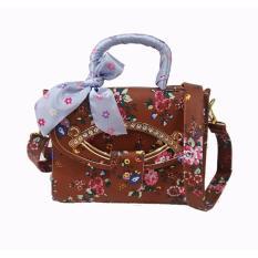 Freeshop -Tas Bahu Crossbody Shoulder Scarf Bag Clutch Selempang Wanita Kanvas S309 - Coklat