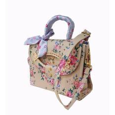 Freeshop -Tas Bahu Crossbody Shoulder Scarf Bag Clutch Selempang Wanita Kanvas S309 - Cream