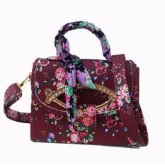 Freeshop -Tas Bahu Crossbody Shoulder Scarf Bag Clutch Selempang Wanita Kanvas S309 - Red