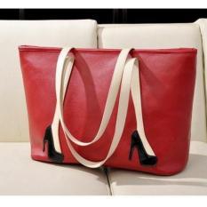 Promo Freeshop Tas Wanita Women Fashion Pu Tote Leather Handsbags Shoulder Bag Tote Bag Higheels Branded Import Korean Elegant Bag Style Red Akhir Tahun