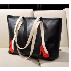 Promo Freeshop Tas Wanita Women Fashion Pu Tote Leather Handsbags Shoulder Bag Tote Bag Higheels Branded Import Korean Elegant Bag Style Hitam Freeshop Terbaru