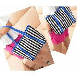 Spesifikasi Freeshop Tas Wanita Women Fashion Pu Tote Leather Handsbags Shoulder Bag Tote Bag Stripe Branded Import Korean Elegant Bag Style Blue Dan Harganya