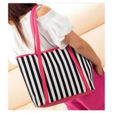 Jual Freeshop Tas Wanita Women Fashion Pu Tote Leather Handsbags Shoulder Bag Tote Bag Stripe Branded Import Korean Elegant Bag Style Pink Dki Jakarta Murah
