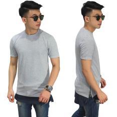 Toko Frozenshop Com Longline T Shirt Two Tone Zipper Soft Grey Termurah