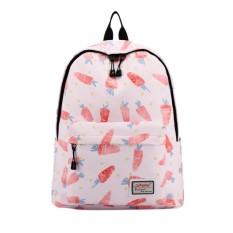 Buah Dicetak Kanvas Ransel Laptop Tas Bahu Girl School Daypack Women Travel Rucksack Warna: Pink-Intl