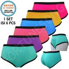 Fs'Fashion - 6 Pcs Celana Dalam Wanita Aneka Warna [Multicolour]