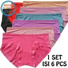 Fs'Fashion- 6 Pcs Celana Dalam Wanita Katun Renda Multicolour ( 6 Pieces)