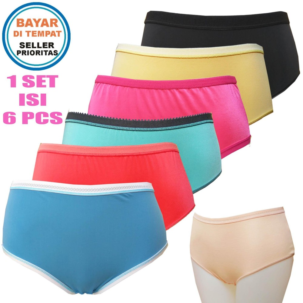 Fs Fashion - 6 Pcs Ladies Colourfull Panties   Celana Dalam Wanita POLOS cc92dda36c