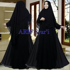 Arif Syar'i Moslem Wear - Baju Gamis Syar'i Premium 100{55e037da9a70d2f692182bf73e9ad7c46940d20c7297ef2687c837f7bdb7b002} Soft Ceruty Ultemate Motif Polos  Gamis Syar'i Wanita Simple Terbaru - Gamis Syar'i  Polos Hitam