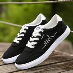 FT Fashion Kasual Sepatu Rendah untuk Membantu Pria Sepatu Kanvas Lightning Kets (hitam)-Intl
