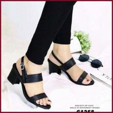 Fuboshoes High Heels Heels Kotak Tahu 5CM Sepatu Kerja Vintage Hitam