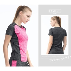 Promo Fullbelief Sports T Shirt Running Gym Blouse Bodybuilding Yoga Clothes Slim Quick Drying Ventilation Thin Shirt Female Sleeve Tee Rose Red) Intl