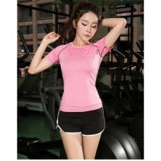 FULLBELIEF Wanita Olahraga Set Dua Piece Suits Menjalankan Gym Swimwear Yoga Wanita Pakaian Slim Cepat-kering Wanita Shirt dengan Celana Pendek (Hitam dan Pink) -Intl