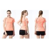 Spesifikasi Fullbelief Wanita Olahraga Set Dua Piece Suits Menjalankan Gym Swimwear Yoga Wanita Pakaian Slim Cepat Kering Wanita Kemeja With Pants Bang Pendek Hitam And Orange Baru
