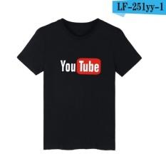 Funny YouTube Logo Black Printed Cotton T-shirt Pria dengan 4XL Anda Pria Tabung T Shirt Merek Mewah Di TEE SHIRT Grey Memakai Musim Panas-Intl