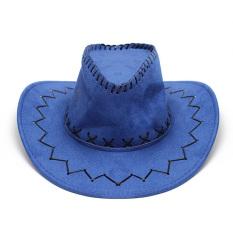 Beli Unisex Pria Wanita Topi Koboi Bahan Bulu Pelindung Matahari Barat Feel Topi Ksatria With Tali Dagu Biru Cicil