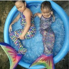 G-Leta Baju Renang Putri Duyung / Kostum Mermaid Tail Swimsuit Backless Top (Rainbow Scale)