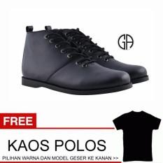 GA sepatu boots brodo pria kulit sintetis klasik kasual santai work adventure tactical