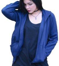 Gabrielle Jaket Hoodie Korean Style Cewek - Biru Navy