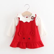 Review Terbaik T Shirt Gadis Baru Anak Anak Rok Suspender Merah
