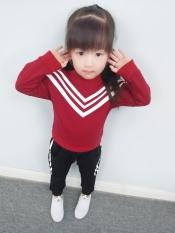 Diskon Gadis Baru Anak Anak Kaos Sweater Celana Sgd V Kerah Brace Jas Merah Other