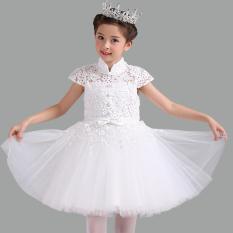 Gadis Baru Anak Kecil Pengapit Rok Gaun Children Gaun Putri (Putih Lengan Pendek (untuk