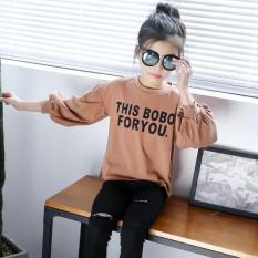 Jual Looesn Gadis Puff Leher Bulat T Shirt Gadis Lengan Panjang T Shirt Khaki Import