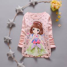 Harga T Shirt Baru Atasan Gadis Model Musim Semi Dan Musim Gugur Lengan Panjang Cinta Merah Muda Yang Indah Lengan Panjang T Lengkap