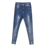 Gadis Slim Mahasiswa Celana Pensil Kaki Meregangkan Celana Jeans Biru Dan Abu Abu Warna Baju Wanita Celana Wanita Celana Jeans Wanita Tiongkok