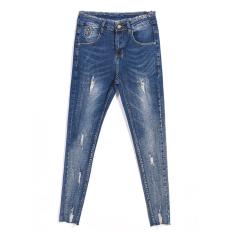 Gadis Slim mahasiswa celana pensil kaki meregangkan celana jeans (Biru dan abu-abu warna) baju wanita celana wanita celana jeans wanita