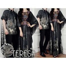 Gambar Coupl Kaftan Teresa Hitam- Gamis Baju Pasangan Sarimbit Batik Pesta Murah