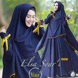 Promo Gamis Baju Pakaian Wanita Muslim Elsa Navy Fryto Terbaru