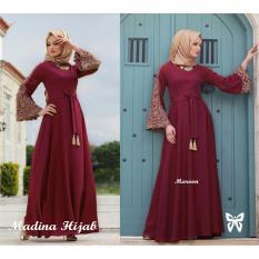 Model Gamis Baju Wanita Muslim Madina Syari Maroon Terbaru