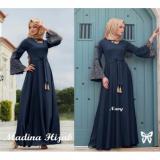 Spesifikasi Gamis Baju Wanita Muslim Madina Syari Navy Lengkap Dengan Harga