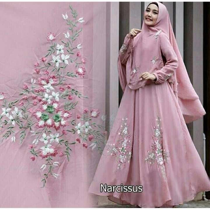 Gamis / Baju Wanita Muslim Narcissus Syari Pink | Lazada