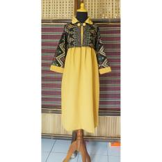 Gamis Batik Anak Bahan Katun Warna Gold/ Kuning BAC26