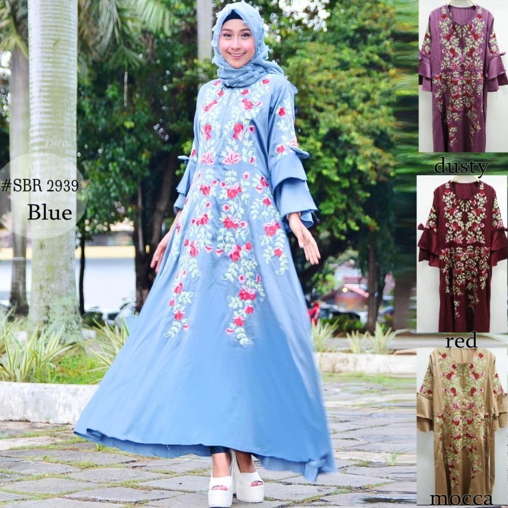 Penawaran Baju Original Gamis Habibah Syari Dress Panjang Monalisa Merah Ut Bordir Modern