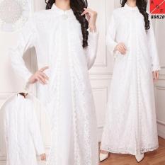 Harga Gamis Brokat Brukat Gamis Putih Untuk Lebaran Pesta Haji Umroh Multi Baru