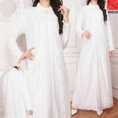 Spesifikasi Gamis Putih Brokat Brukat Untuk Haji Umrah Pesta Lengkap Dengan Harga