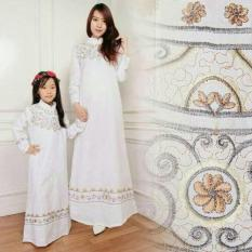 Gamis Couple Elegan Bordir Putih Baju Pasangan Maxi Dres Ibu Anak