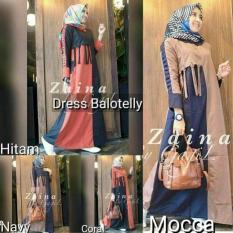 Gamis Dress Muslim Murah Pakaian Hijab Baju Wanita Zaina Dress Promo Beli 1 Gratis 1