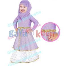Gamis Gaya Si Kecil Baju muslim anak cewek perempuan plus pasmina anak cewek perempuan Impor ungu purple gw247