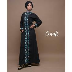 Harga Gamis Hijab Abaya Arab Hitam Bordir Flower Fara Terbaik
