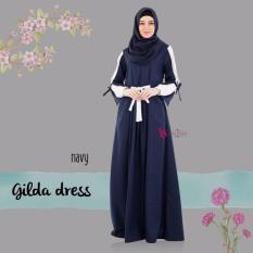 Gamis House Of Valisha Gilda Dress Navy - Baju Gamis Wanita Busana