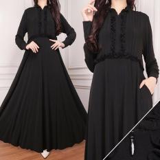 Harga Zos Gamis Muslim Fashion Wanita Jersey Korea Lengan Panjang Baju Muslim Wanita Hitam Online
